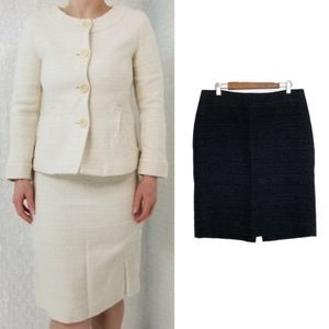 Theory Frieda C Black Boucle Wool Pencil Skirt